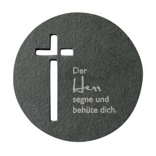 Wandkreuz Schieferrelief Herr segne Kreuz 10 cm rund Kruzifix Christlich
