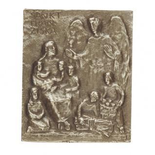 Namenstag Franziska Bronzeplakette 13 x 10 cm Bronzerelief Wandbild Schutzpatron