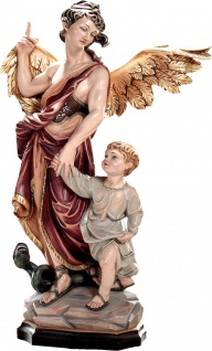 Heiliger Schutzengel Raphael Erzengel Holzfigur geschnitzt Schutzpatron