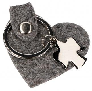 Schlüsselanhänger Schutzengel Metall Herz aus graumeliertem Wollfilz