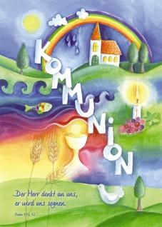 Glückwunschkarte zur Erstkommunion Psalm (6 Stck) Grußkarte Erstkommunion Kuvert