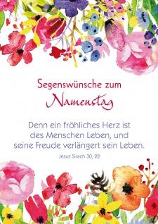 Postkarte Namenstag Bibelwort 10 Stck Blumen Lutherbibel Freude Leben Herz