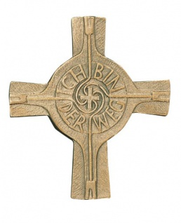 Wandkreuz Ich bin der Weg Bronze Erstkommunion Kreuz 9 x 8 cm Handarbeit NEU