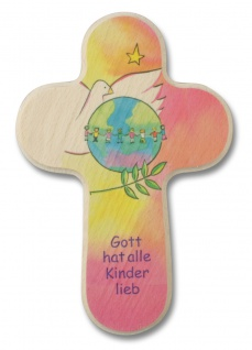 Wandkreuz Kommunion Kinderkreuz Weltkugel Naturholz Gott hat alle Kinder.. 16 cm