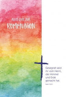 Glückwunschkarte Regenbogenfarben und Kreuz Alles Gute zur Kommunion (6 Stück)