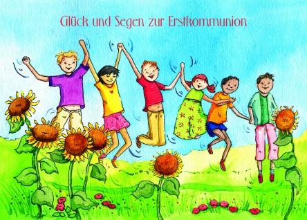 Kommunionkarte Glück und Segen zur Erstkommunion (6 Stck) Grußkarte Kuvert