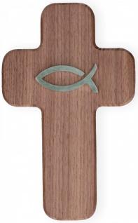 Wandkreuz Nussbaum Holz Ichthys Fisch Edelstahl Kreuz 19 cm Symbolkreuz