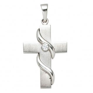 Anhänger Kreuz 925 Sterling Silber massiv mattiert Kreuzanhänger Silberkreuz