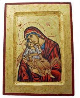 Ikone Madonna 22 x 17 cm vergoldet Handarbeit aus Griechenland
