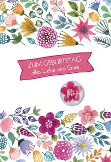 Glückwunschkarte Geburtstag 5 St Kuvert Glasmagnet Blume Herz Freude Glück