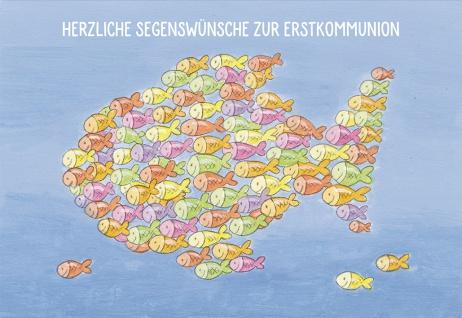 Glückwunschkarte Herzliche Segenswünsche zur Erstkommunion (6 St) Fische - Vorschau
