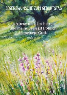 Postkarte Geburtstag Wiese 10 St Adressfeld Segen Baum Blumen Fröhlichkeit