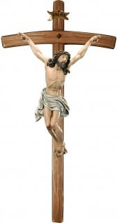 Kruzifix Corpus sterbend mit Kreuz Holzfigur geschnitzt Südtirol