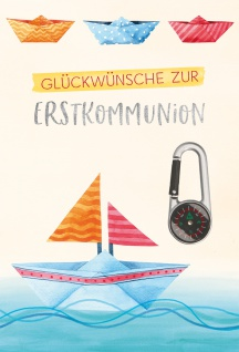 Glückwunschkarte silberner Kompass-Karabiner Glückwünsche Erstkommunion 5 Stück