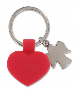 Schlüsselanhänger rotes Herz, mit Metall-Schutzengel