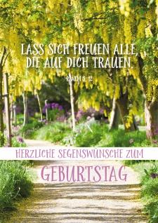 Postkarte Geburtstag Weg 10 St Adressfeld Bibelwort Bäume Freude Gott Frühling