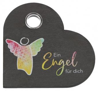 Schiefer Herz Ein Engel für Dich Aufsteller mit Glas-Vase 10 cm Herzform