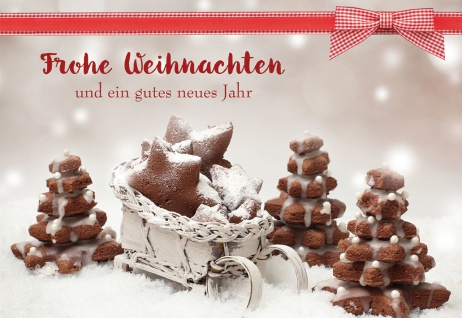 Weihnachtskarte Rezept Lebkuchen Frohe Weihnachten gutes neues Jahr (6 Stück)