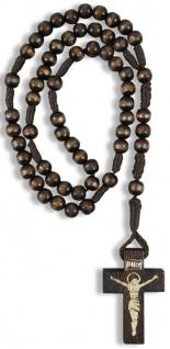 Rosenkranz Holzkreuz geknüpft 25 cm Perle 5 mm