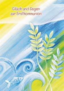 Glückwunschkarte Glück und Segen zur Erstkommunion (6 St) Ähren Wellen und Fisch - Vorschau