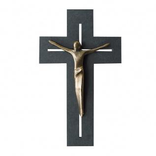 Wandkreuz Schiefer Korpus Corpus Jesus Bronze Kreuz 22 cm Kruzifix Christlich