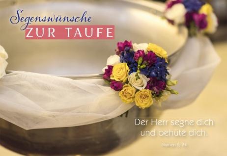 Glückwunschkarte Taufe Taufbecken 6 St Kuvert Numeri Segen Schutz Begleitung