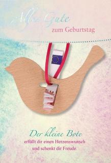 Glückwunschkarte Geburtstag Geldgeschenk Holzvogel 5 St Kuvert Naturpapier