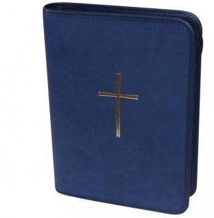 Gotteslobhülle Kreuz Gold Kunstleder Dunkelblau Gesangbuch Einband Katholisch