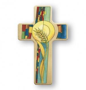 Kinderkreuz Erstkommunion Weizenkorn Ähre Kreuz Buchenholz 18 x 11 cm Wandkreuz
