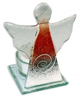 Teelichthalter Schutzengel rot Fusing Glas 10 cm Kerzenhalter Kerzenständer