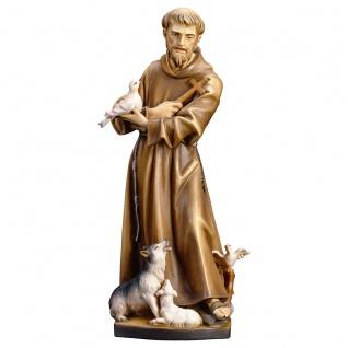 Heiliger Franziskus von Assisi Holz geschnitzt handbemalt Südtirol Schnitzkunst