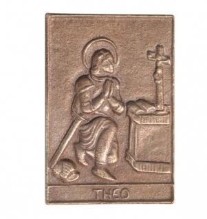 Namenstag Theo 8 x 6 cm Bronzeplakette Bronzerelief Wandbild Schutzpatron