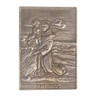Namenstag Antonius 8 x 6 cm Bronzeplakette Bronzerelief Wandbild Schutzpatron - Vorschau