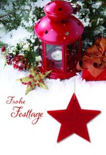 Weihnachtskarte Stern Filzanhänger Frohe Festtage (5 Stck) von Fallersleben