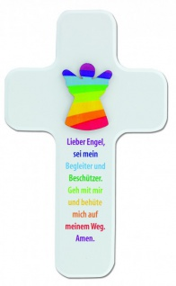 Kinderkreuz Lieber Engel Buchenholz weiß 18cm Schutzengel Gebet Wandkreuz Holz