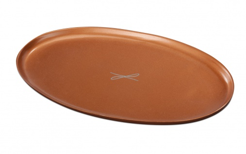 Kerzenteller Aluminium rotgoldfarben oval 10 x 17 cm für Tischkerzen Altarkerzen