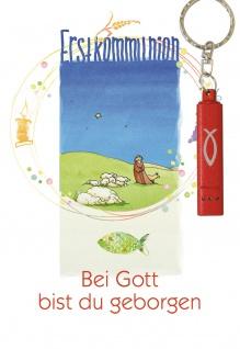 Glückwunschkarte zur Erstkommunion (5 St) mit roter Taschenlampe Grußkarte