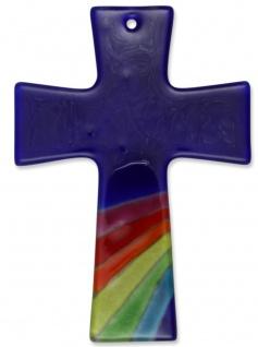 Kreuz aus Glas Regenbogen Fusing Glas Kreuz Handarbeit blau 13 cm Wandkreuz