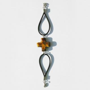 Armband mit Keramik-Kreuz, braun 19 cm Kautschukband