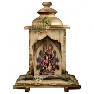 Stall mit Licht Heilige Familie Holzfigur geschnitzt Südtirol Weihnachtskrippe