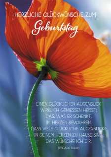 Postkarte Herzliche Glückwünsche zum Geburtstag (10 St) Rote Mohnblume