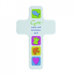 Kinderkreuz Gott segne und beschütze dich Holzkreuz 18 cm Wandkreuz Taufe