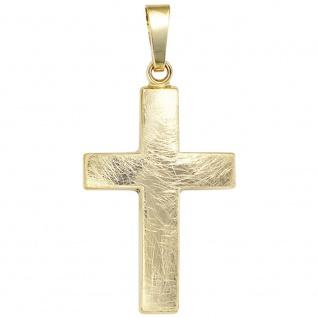 Kreuz Schmuck Gold 333 Gelbgold eismatt Christliches Kreuz Anhänger