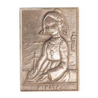 Namenstag Renate 8 x 6 cm Bronzeplakette Bronzerelief Wandbild Schutzpatron