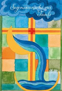 Glückwunschkarte Taufe Wasser 6 St Kuvert Taufbecken Segen Gemeinde Kreuz