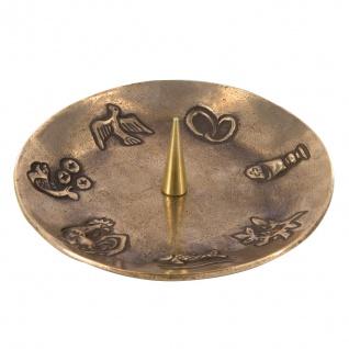 Kerzenhalter 7 christliche Symbole Bronze Ø 14 cm Kerzenständer Kommunion Taufe