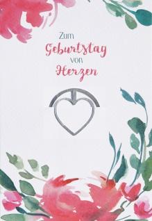 Glückwunschkarte Zum Geburtstag von Herzen (6 Stück) Grußkarte mit Kuvert