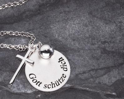 Anhänger Gott schütze dich mit Kreuz Silberkugel, Kette 3-tlg. Gravurfähig