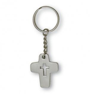 Schlüsselanhänger Kreuz Christlich Schlüsselring 8 cm