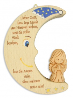 Herz Ton Schutzengel Naturholz 11 Cm Kinder Wandschmuck
